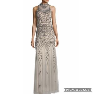 Beaded Godet gown with illusion mock neck dress